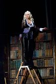 "DNEPROPETROVSK UKRAINE NOVEMBER 19: Elena Popova performs ""Blithe Spirit"" at State Russian Drama Theatre on November 19 2006 in Dnepropetrovsk Ukraine poster"