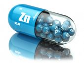 Pills with zinc Zn element Dietary supplements. Vitamin capsules. 3d poster