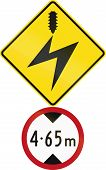 Road sign assembly in New Zealand - Low clearance due to electrical cables. poster