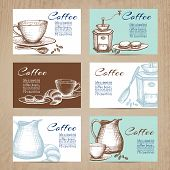 Nostalgic coffee time cards with recipes collection in mini banners form  on billboard abstract isolated  vector illustration. Editable EPS and Render in JPG format poster