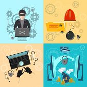 Hacker activity computer bank account hacking and e-mail spam viruses password cracking flat icons set poster
