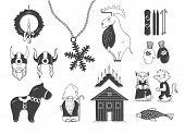 Set of attributes of the Scandinavian countries.Set with design elements of symbols of Sweden Denmark Iceland Norway: moose gnome snowflake skiing snowboard viking helmet wooden house mittens red wooden horse salmon candle troll Christmas wreath poster