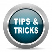 tips tricks blue silver chrome border icon on white background  poster