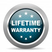 lifetime warranty blue silver chrome border icon on white background  poster