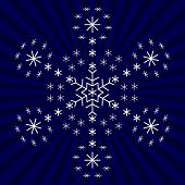 Snowflake on background, winter christmas object, complex form poster