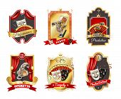Theatre realistic emblems set with performance production and festival symbols isolated vector illustration poster