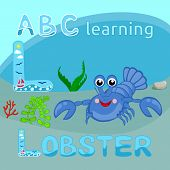 Sea animals alphabet letter vector L letter Blue lobster vector Funny cartoon character Happy crayfish Ocean fauna, Crawfish Great for sea life illustration, t shirt print, animal, wildlife design poster