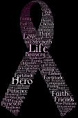 A breast cancer awareness ribbon made only from words describing affected women. poster