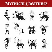 Mythical creatures black and white decorative icons set isolated vector illustration poster