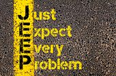 Concept image of Business Acronym JEEP as Just Expect Every Problem written over road marking yellow paint line. poster