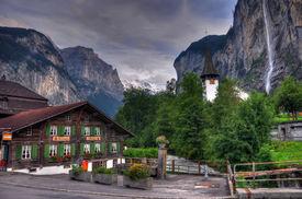 Switzerland Mountain Landscape With Waterfall