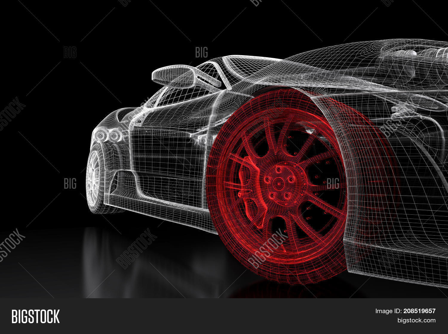 Car vehicle 3d image photo free trial bigstock car vehicle 3d blueprint mesh model with a red wheel tire on a black background malvernweather Gallery