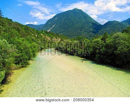 River Soca near Bovec. Kayaking and rafting in Slovenia
