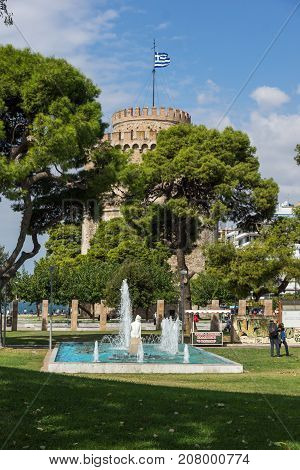THESSALONIKI, GREECE - SEPTEMBER 30, 2017:  Amazing view of White Tower in city of Thessaloniki, Central Macedonia, Greece