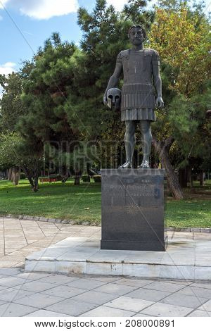 THESSALONIKI, GREECE - SEPTEMBER 30, 2017: Philip II of Macedon Monument at embankment of city of Thessaloniki, Central Macedonia, Greece
