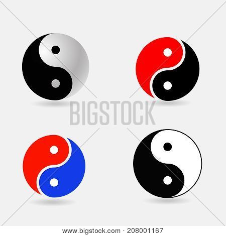 ying  yang symbols set  yin-yang symbol vector