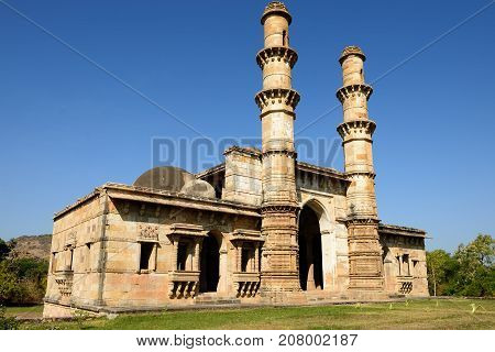 Champaner - Pavagadh Archaeological Park is a historical city in the state of Gujarat. Kevda Masjid mosque. (UNESCO) poster