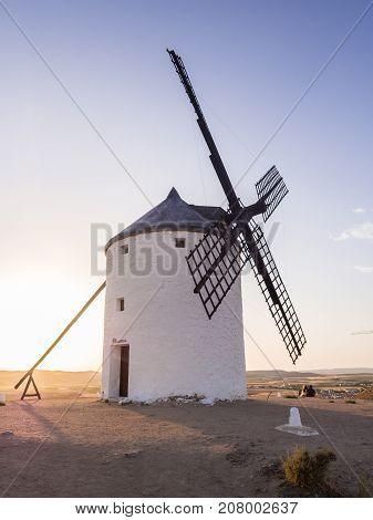 Windmills (molinos) in Consuegra Toledo Province Castilla La Mancha Spain at sunset.