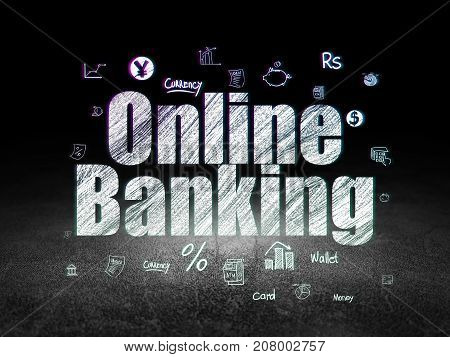 Money concept: Glowing text Online Banking,  Hand Drawn Finance Icons in grunge dark room with Dirty Floor, black background