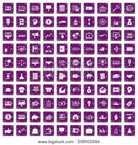100 e-commerce icons set in grunge style purple color isolated on white background vector illustration