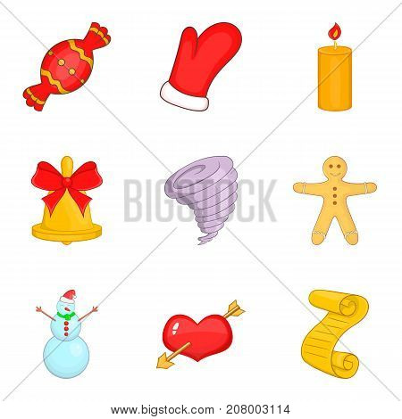 Christmassy icons set. Cartoon set of 9 christmassy vector icons for web isolated on white background