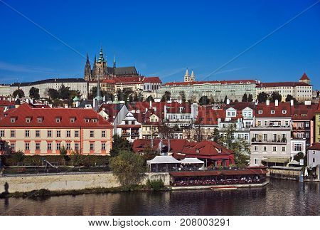 Prague Czech Republic-9 October 2017: View of the Prague Castle from Charles Bridge in Prague in the background Prague Castle