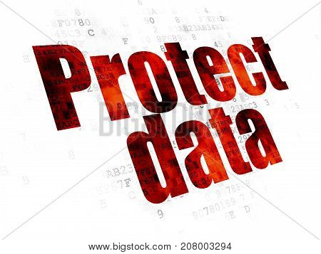 Protection concept: Pixelated red text Protect Data on Digital background
