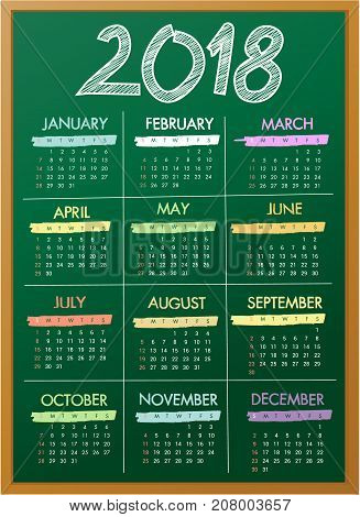 Blackboard school calendar for 2018 year - vector illustration