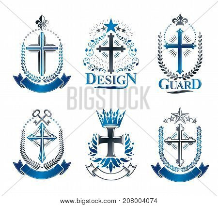 Crosses of Christianity emblems set. Heraldic vector design elements collection. Retro style label heraldry logo.