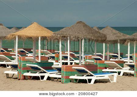 Sun Beds On The Beach
