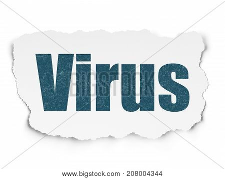 Protection concept: Painted blue text Virus on Torn Paper background with  Hexadecimal Code