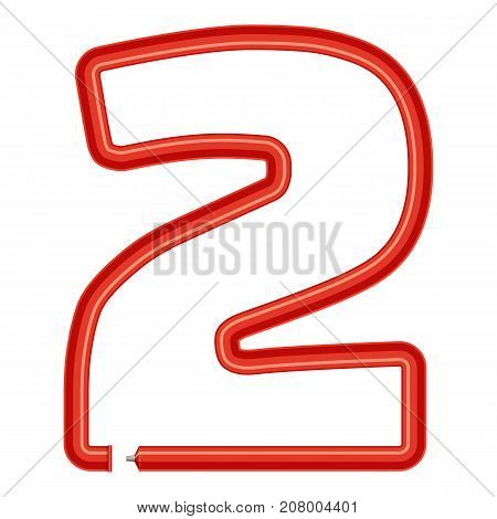 Number two plastic tube icon. Cartoon illustration of number 2 plastic tube vector icon for web