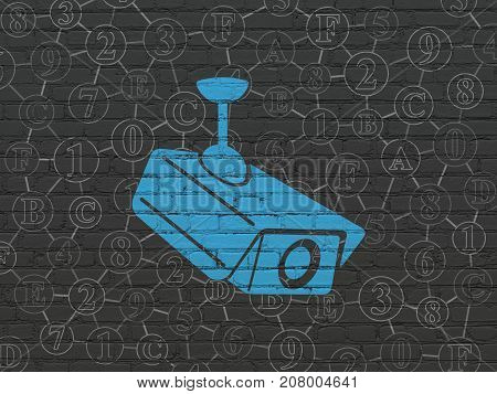 Privacy concept: Painted blue Cctv Camera icon on Black Brick wall background with Scheme Of Hexadecimal Code