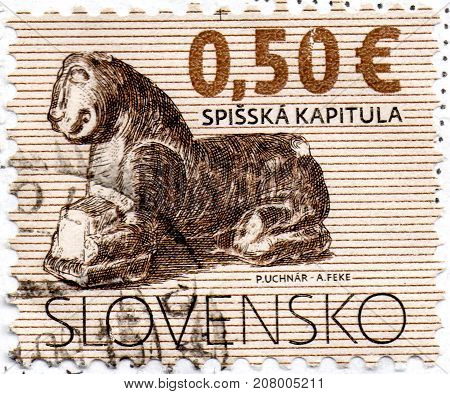 Ukraine - circa 2017: A postage stamp printed in Slovakia shows The Church of St Martin in Spisska Kapitula serie Definitive Issues - Cultural Heritage of Slovakia circa 2009