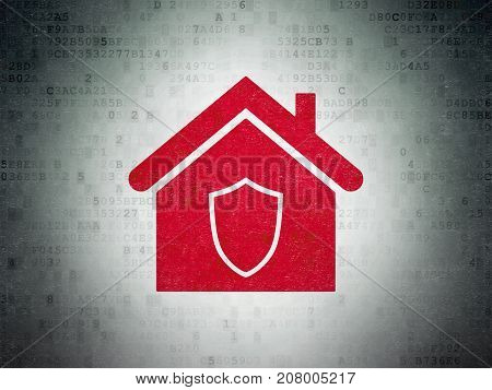 Business concept: Painted red Home icon on Digital Data Paper background