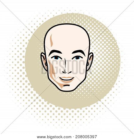 Vector illustration of handsome male face positive face features of hairless man clipart.