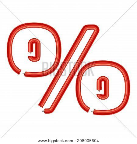 Sign percent plastic tube icon. Cartoon illustration of letter percent plastic tube vector icon for web