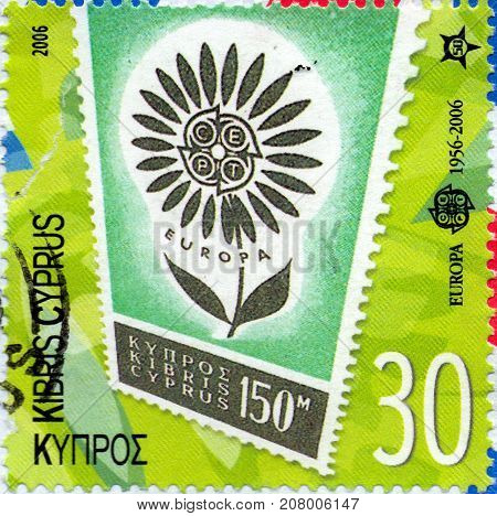 Ukraine - circa 2017: A postage stamp printed in Cyprus shows EUROPA 2006 - 50 Years of the first C.E.P.T. issue circa 2006