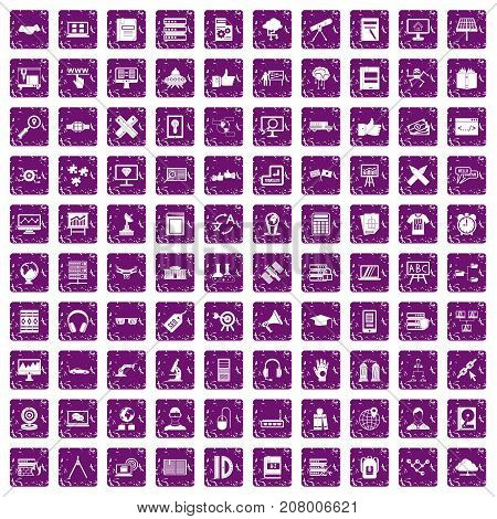 100 education technology icons set in grunge style purple color isolated on white background vector illustration