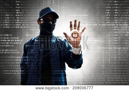 Unknown hacker touch the screen to unlock computer system