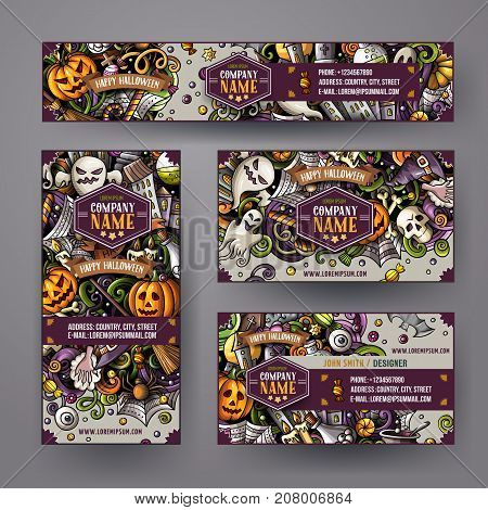 Corporate Identity vector templates set design with doodles hand drawn Halloween theme. Colorful banner, id cards, flayer design. Templates set. All objects separate.