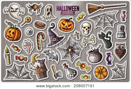 Set of Happy Halloween cartoon stickers. Vector hand drawn objects and symbols collection. Label design elements. Cute patches, pins, badges series. Comic style.