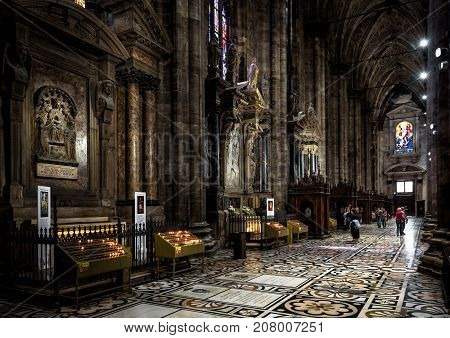 Milan, Italy - May 16, 2017: Interior of the Milan Cathedral (Duomo di Milano). Milan Duomo is the largest church in Italy and the fifth largest in the world.