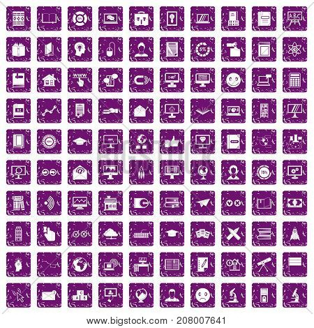 100 e-learning icons set in grunge style purple color isolated on white background vector illustration