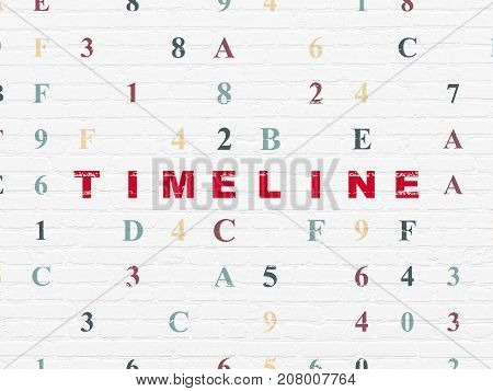 Timeline concept: Painted red text Timeline on White Brick wall background with Hexadecimal Code
