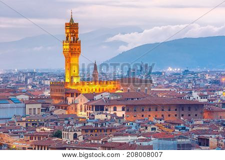 Famous tower of Palazzo Vecchio on the Piazza della Signoria at sunset from Piazzale Michelangelo in Florence, Tuscany, Italy poster