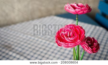 Red plastic rose flower pot on blue and white plaid tablecloth Coffee table