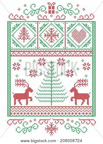 Elegant Christmas Scandinavian, Nordic style winter stitching, pattern including snowflakes, hearts,present, star, Christmas tree, reindeer and decorative ornaments in red, green in rectangle frame