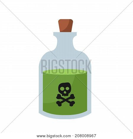Bottle with poison. Poison design. Toxic chemical. Vector stock.