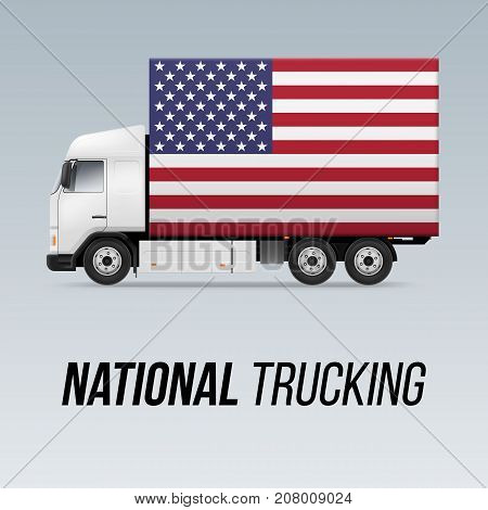 Symbol of National Delivery Truck with Flag of USA. National Trucking Icon and American flag